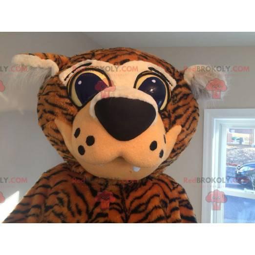 Orange und schwarzer Tiger Maskottchen mit großen Augen -