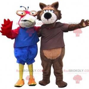 2 Maskottchen ein Papagei und ein Wolf. 2 Tiere - Redbrokoly.com