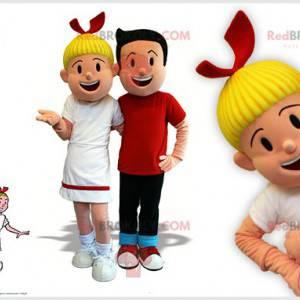 2 Maskottchen von Bob und Bobette berühmten Comicfiguren -