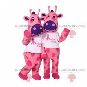2 mascots of pink and blue cows. 2 cows - Redbrokoly.com