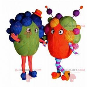 2 maskoter fargede ullkuler - Redbrokoly.com