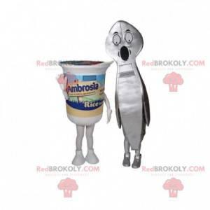 2 maskoter en yoghurt og en gigantisk skje - Redbrokoly.com