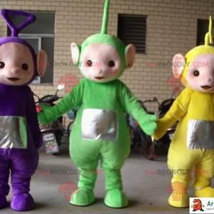 Mascotes Teletubbies verdes, amarelos e roxos. 3 teletubbies -