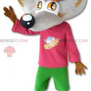 Gray and brown wolf mascot with a colorful outfit -