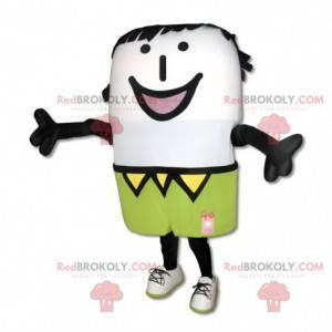 Usmívající se maskot sněhuláka s barevným oblečením -