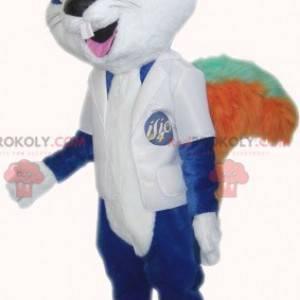 Blue rodent cat mascot with big teeth - Redbrokoly.com