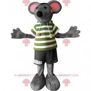 Szaro-różowa mysz maskotka z dużymi uszami - Redbrokoly.com