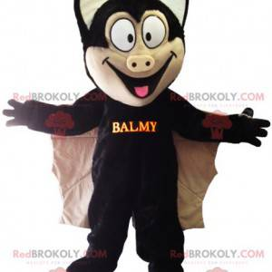 Black and beige bat mascot with large wings - Redbrokoly.com