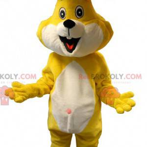 Mascotte de lapin jaune et blanc. Costume de lapin -