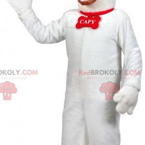 White and brown dog mascot. Dog costume - Redbrokoly.com