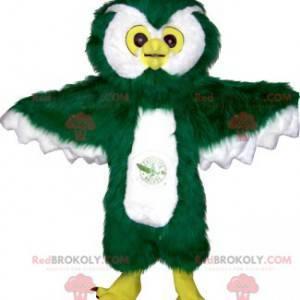 Obří a chlupatý maskot zelené a bílé sovy - Redbrokoly.com