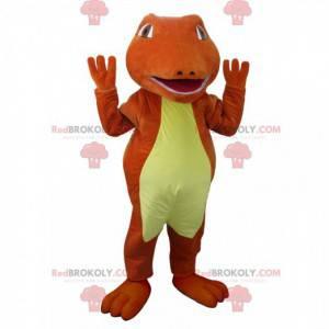 Rotes und gelbes Krokodilmaskottchen. Dinosaurier Maskottchen -