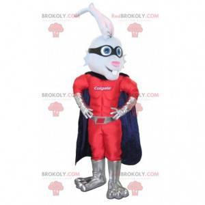Superhelden-Kaninchen-Maskottchen mit Stirnband und Umhang -