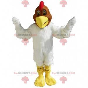 Miękki i włochaty biało-brązowy kurczak maskotka -