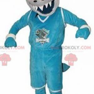 Blaues und weißes Haimaskottchen, das heftig aussieht -