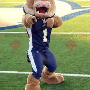 Maskot hnědý tygr lev v modrém sportovním oblečení -