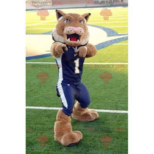 Brown lion tiger mascot in blue sportswear - Redbrokoly.com