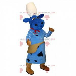 Maskot modrá kráva s kuchařskou čepicí. Macotte Duke Factory -