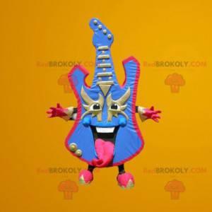 Elektrisk gitar maskot farget i blått og rosa - Redbrokoly.com