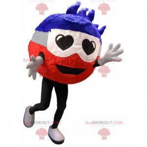 Round snowman mascot with heart-shaped eyes - Redbrokoly.com