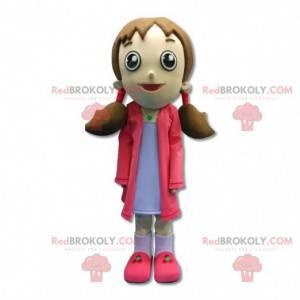 Maskot dívka oblečená v růžové s přikrývkami - Redbrokoly.com