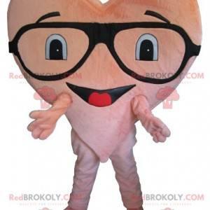 Maskot obří růžové srdce s brýlemi - Redbrokoly.com