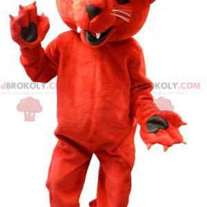 Řvoucí a zastrašující maskot rudého medvěda - Redbrokoly.com