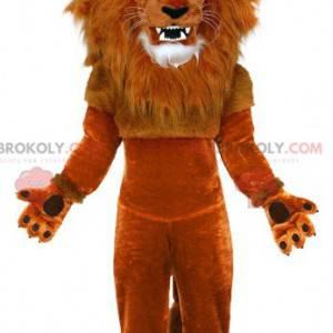 Maskot hnědého lva s velkou hřívou - Redbrokoly.com