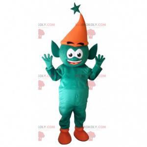 Mascota de elfo verde elfo gigante. Mascota de hadas -