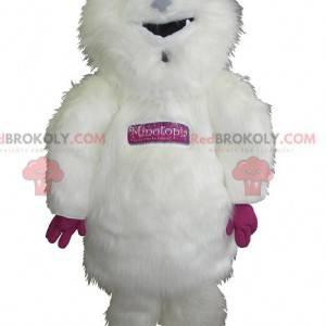 Obří a chlupatý bílý a růžový maskot yeti - Redbrokoly.com