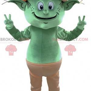 Mascotte dell'elfo verde dell'elfo gigante. Mascotte fata -