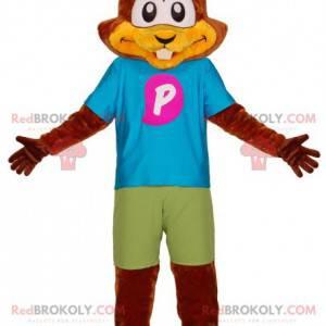 Brązowa wiewiórka bobra maskotka z kolorowym strojem -