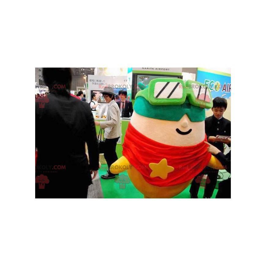 Skier mascot with a mask and sunglasses - Redbrokoly.com