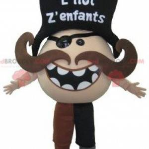 Mustached pirate mascot. Mustached snowman costume -