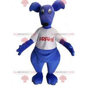 Blaues Känguru-Maskottchen mit einem T-Shirt. Frami Maskottchen