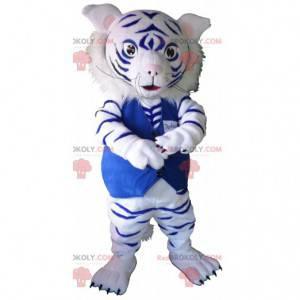 Maskot bílý a modrý tygr. Baby leopard maskot - Redbrokoly.com