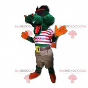 Green crocodile mascot in pirate outfit - Redbrokoly.com
