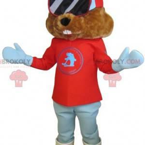 Brązowy świstak maskotka ubrany w strój narciarski -