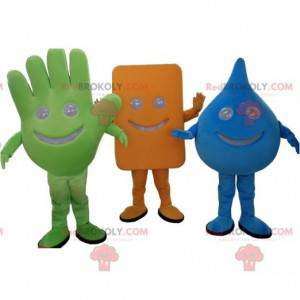 3 maskotki: zielona ręka, niebieska kropla i prostokąt -
