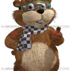 Brun og beige marmotmaskot med maske - Redbrokoly.com