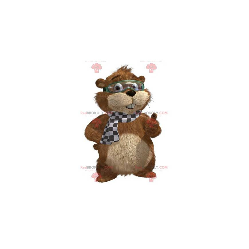 Hnědý a béžový svišť maskot s maskou - Redbrokoly.com