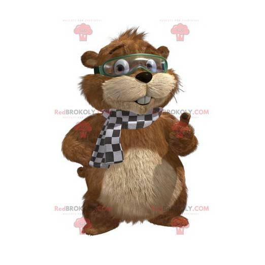 Braunes und beige Murmeltier Maskottchen mit einer Maske -