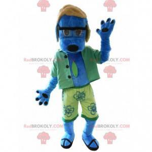 Maskot modrý pes oblečený jako rekreant. Letní maskot -