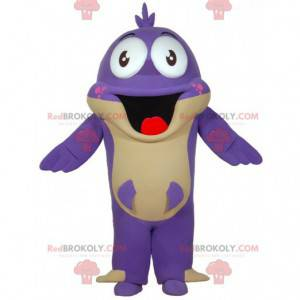 Purple fish mascot with a big mouth. Fun mascot - Redbrokoly.com