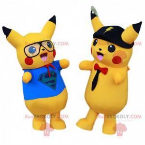 Lot of mascots of Pikachu, the famous yellow Pokemon of manga -