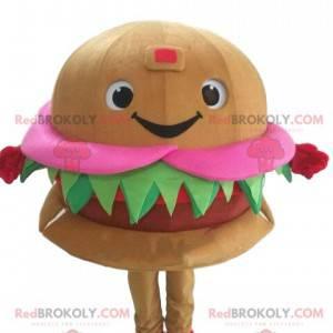 Smiling and appetizing hamburger mascot. Fast food costume -