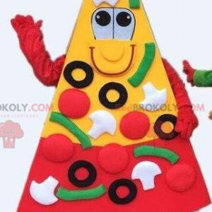 Mascota de pizza, rebanada de pizza. Disfraz de pizza gigante -