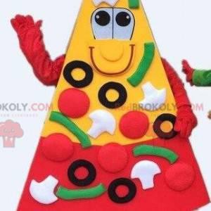 Mascotte della pizza, fetta di pizza. Costume da pizza gigante