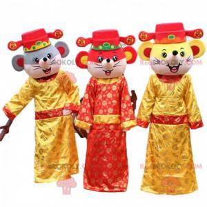3 čínští myší maskoti. 3 Číňané, sada 3 převleků -