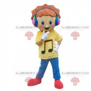 Maskottchenjunge mit Kopfhörern. Musikkostüm - Redbrokoly.com